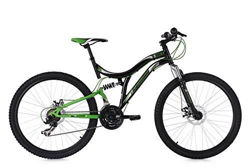 KS Cycling Mountainbike Fully Nice RH 48 cm Fahrrad, Schwarz-Grün, 26