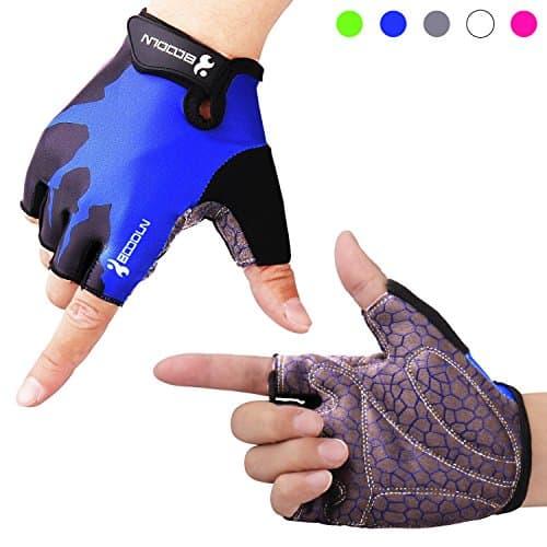 Fahrradhandschuhe Radsporthandschuhe rutschfeste und stoßdämpfende Mountainbike Handschuhe mit Signalfarbe geeiget für Radsport MTB Road Race Downhill Wandern und andere Sports unisex Herren Damen (Blau, L)