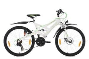 KS Cycling Jungen Kinder Fahrrad Mountainbike Atb Fully 4Masters Fahrrad, Weiß/Grün, 24 Zoll