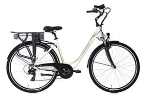 Adore Damen Alu City Pedelec Versailles E-Bike Weiß-Grün 250 Watt Li-Ion 36V/10,4 Ah 6 Gänge Fahrrad, Wei&AmpSzlig-Gr&AmpUumln, 28