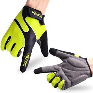 Fahrradhandschuhe Radsporthandschuhe rutschfeste und stoßdämpfende Mountainbike Handschuhe mit Signalfarbe geeiget für Radsport MTB Road Race Downhill Wandern und andere Sports unisex Herren Damen (Grün, L)